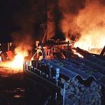 Pożar zmagazynowanego drewna