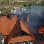 Pożar budynku przy ul. Wrocławskiej (z drona)