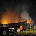 Pożar budynków w Bogufałowie. 12 pojazdów w akcji