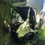 Ciężarówką wjechał w drzewo. Ma połamane nogi