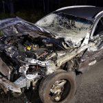Zderzenie koło tartaku. Laweta i Opel. Winny jeleń