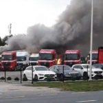 Pożar na terenie salonu Mercedesa